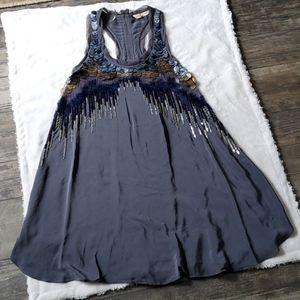 Rebecca Taylor Silk Slip Dress Sequin Front
